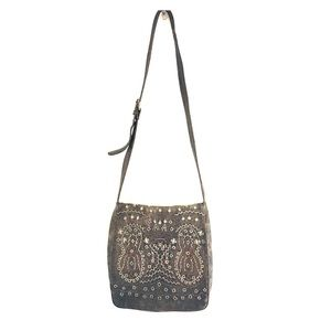 FLASH SALE Embroidered Gray Leather Cross-Body